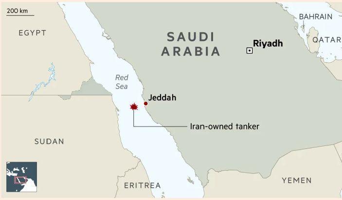 نقشه دقیق محل حادثه ، افزایش قیمت نفت پس از حمله به نفتکش ایران